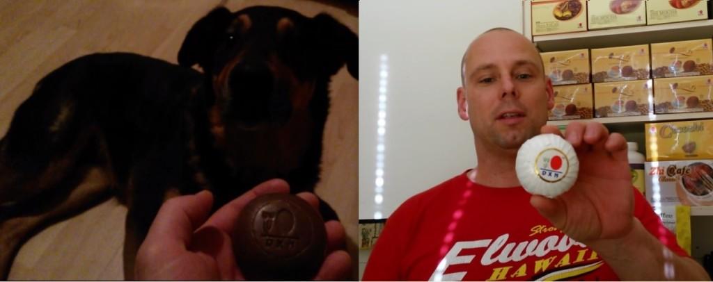 Bubu dog loves smelling DXN Ganozhi Ganoderma soap, probably because of the Ganoderma medicinal mushroom content :)