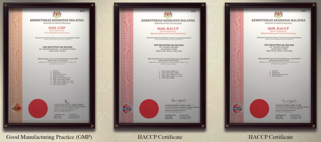 Good Manufacturing Process (GMP) and HACCP Certificates of DXN Holdings Bhd.