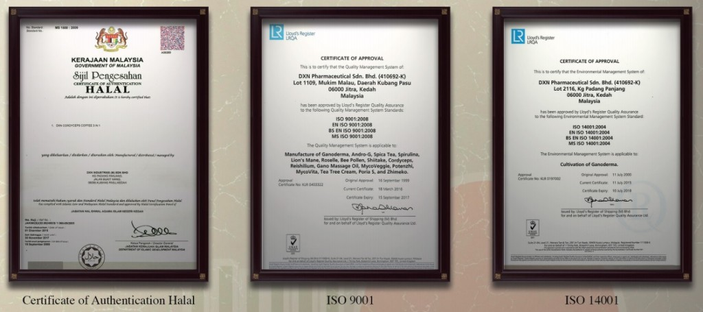 DXN HALAL, ISO 9001 and ISO 14001 certificates