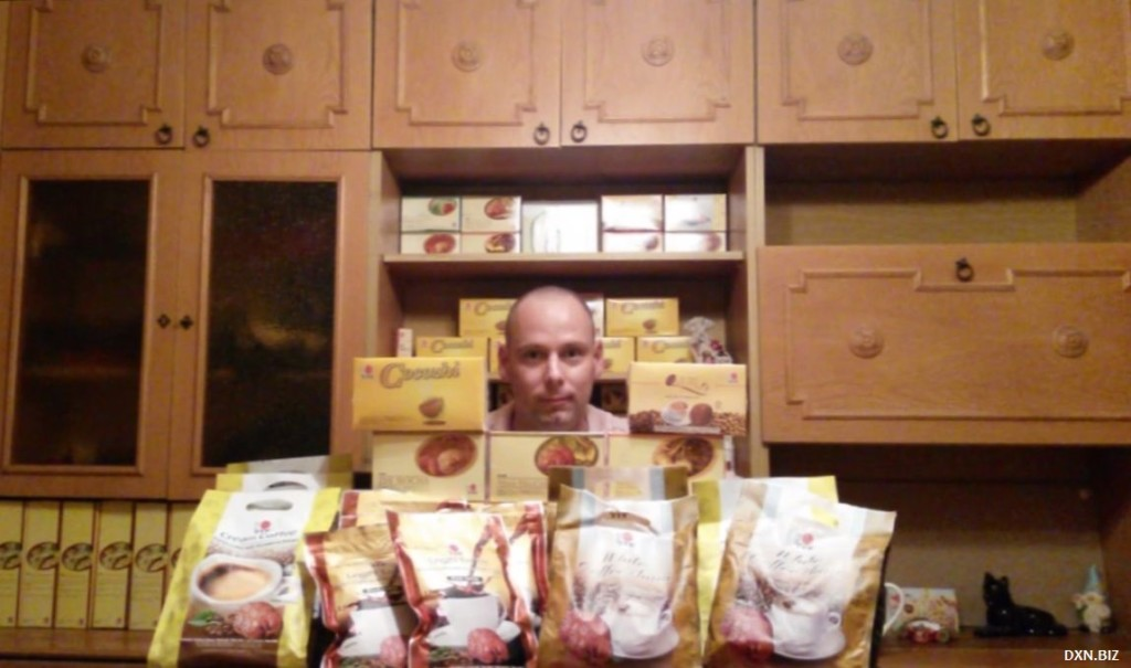 Network Marketing and pyramid scheme presented by  DXN Ganoderma coffee boxes in pyramid shape by future DXN Crown Ambassador Gergely Takács