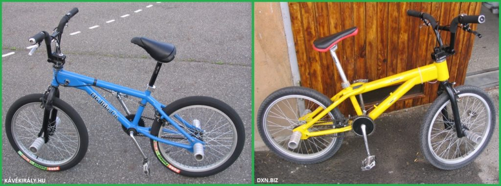 My old BMX Flatland bikes blue O.G. Essence and yellow O.G. Balance