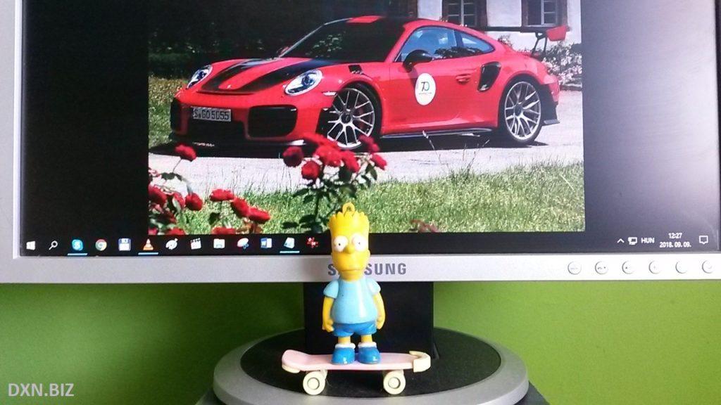 Bart Simpson plastic figure on his skateboard