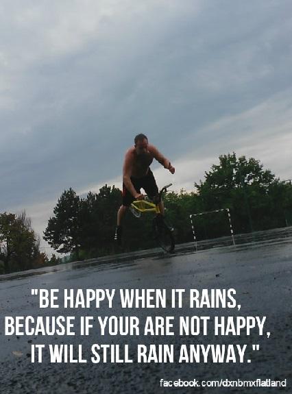 Me doing BMX Flatland trick Hang-Five in rainy weather on wet concrete court